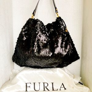 NWT FURLA Limited Edition Sequence Black Bag